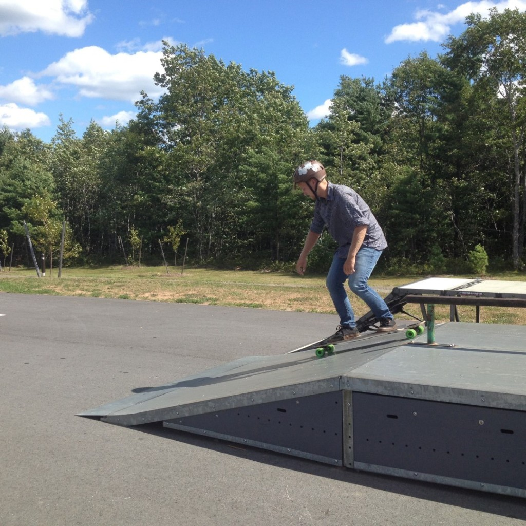 Trying out the temporary equipment at Grinder's Square skatpark.